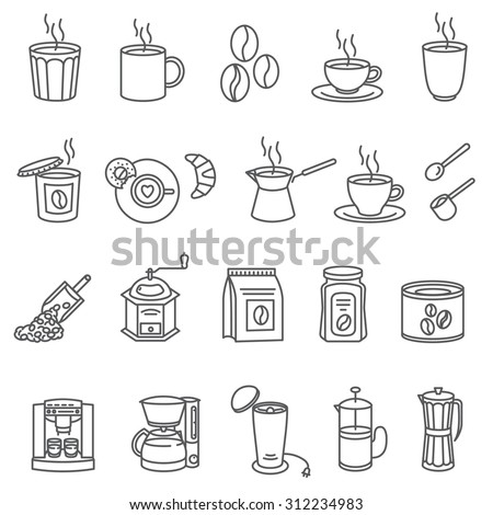 Coffee and Accessories. Set of Outline Icons. Set of black line icons with coffee and equipment. - stock vector