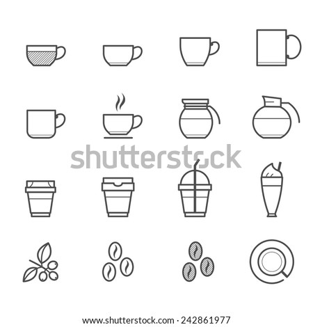Coffee and Coffee cup Icons - stock vector