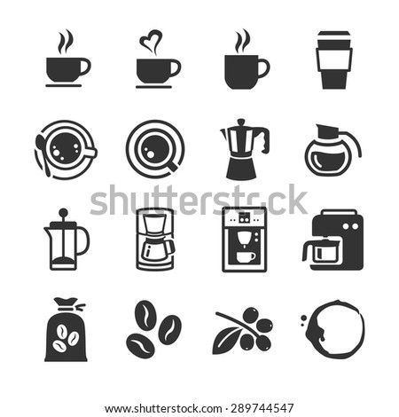 Coffee and coffee machine icons - stock vector