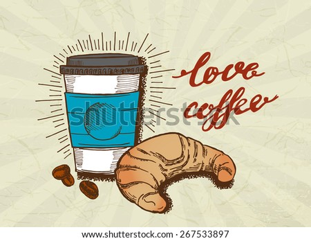 coffee and croissant poster - stock vector