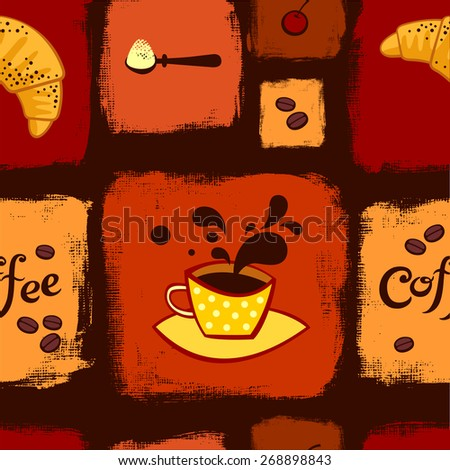 Coffee and croissant seamless pattern - stock vector