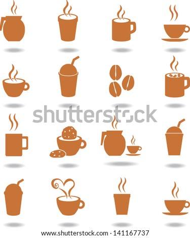 coffee and hot beverages icons set - stock vector