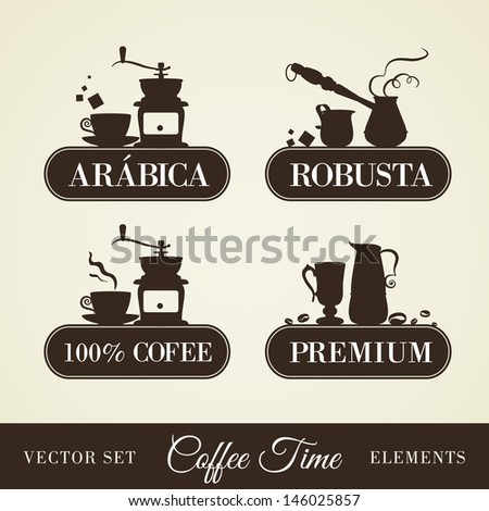 Coffee and pots. Vector set. - stock vector