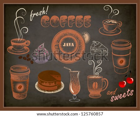 Coffee and Sweets Ads - Blackboard with a set of coffee and sweets advertisements, pastel doodle style - stock vector