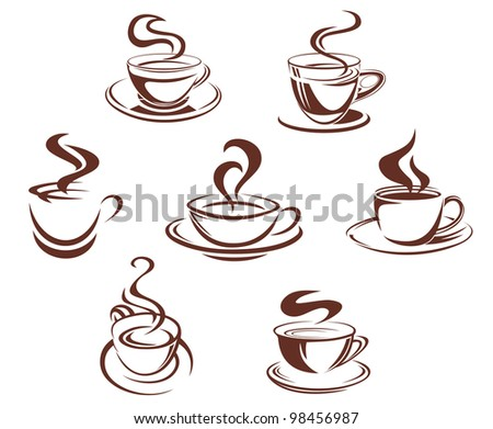 Coffee and tea cups symbols for beverage design, such  a logo. Jpeg version also available in gallery - stock vector