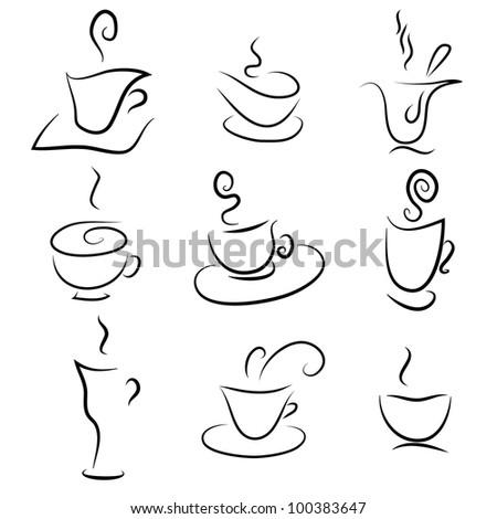 coffee and tea design elements - stock vector