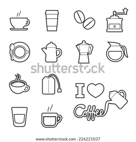 coffee and tea icon - stock vector