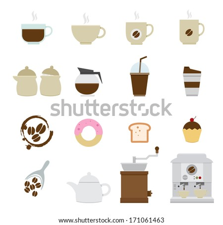 Coffee and tea Icons isolated on white background - stock vector