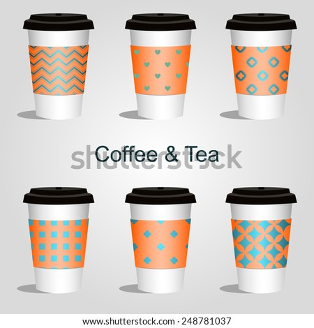 coffee and tea in thermo takeaway with different ornaments set of 6 pieces - stock vector