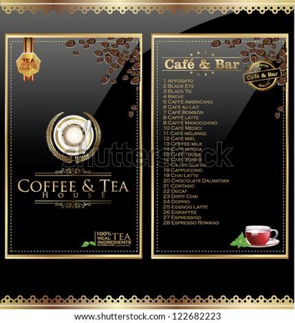 Coffee and tea menu - stock vector