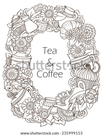 Coffee and Tea Sketch Doodles. Hand-Drawn Vector Illustration. Coffee, Breakfast, Tea, Invite, Menu, Love Background. Coffee And Tea Poster Design Template. Black and White Background. - stock vector