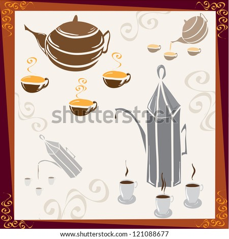 coffee and tea time - stock vector