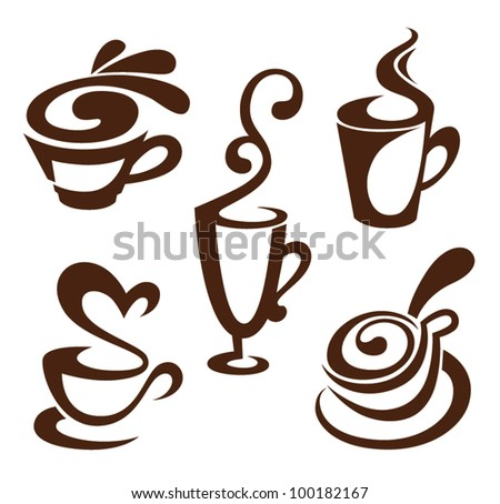 coffee and tea, vector cups collection - stock vector