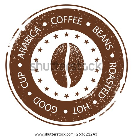 Coffee Bean Design. Vintage Menu Stamp. Hot, Roasted, Good, Cup Distressed Round Label - stock vector