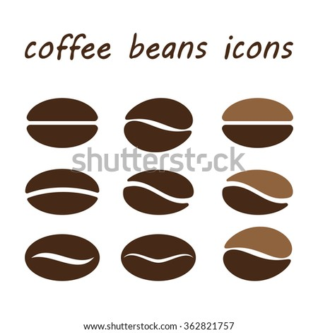 coffee beans isolated on white background. vector illustration - stock vector