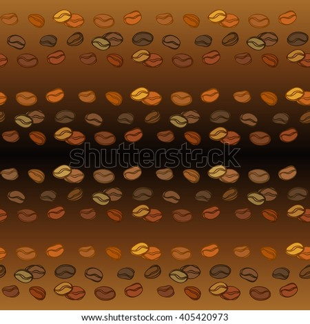 Coffee beans seamless pattern. Abstract brown coffee sketch horizontal texture background. Black coffee design for coffee shop menu, wrapping paper, fabric, cafe interior design vector illustration - stock vector