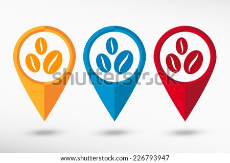 Coffee beans symbol. Map pointer - stock vector