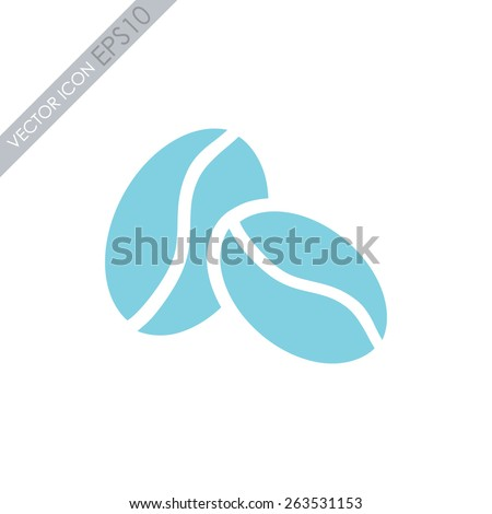 Coffee beans vector icon. - stock vector