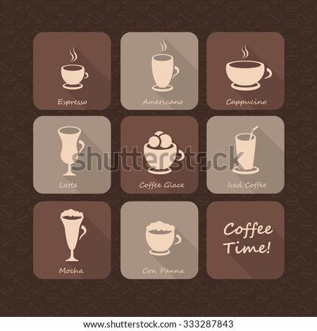 Coffee beverages cups and glasses silhouettes flat icon set on chocolate brown coffee beans background, espresso, latte, iced coffee, mocha, cappuccino, for web and print materials, coffee shop menu - stock vector