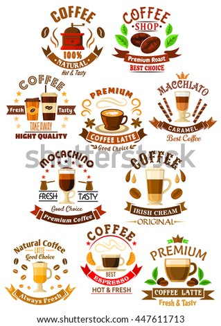 Coffee beverages icons with  cups of espresso and latte, macchiato, mochaccino and irish cream coffee drinks, adorned by coffee beans and stars, ribbon banners and sweets, crowns and pastries  - stock vector