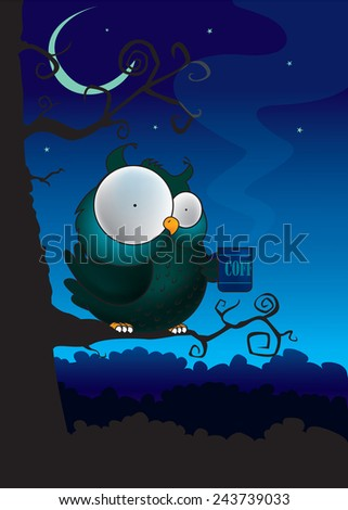 Coffee break.Funny looking owl,sitting on tree,drinking coffee. vertical vector illustration - stock vector