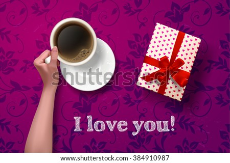coffee break. hand holding cup of coffee with gift box on purple vector background. latte it`s coffee time. I love coffee. I love you - stock vector