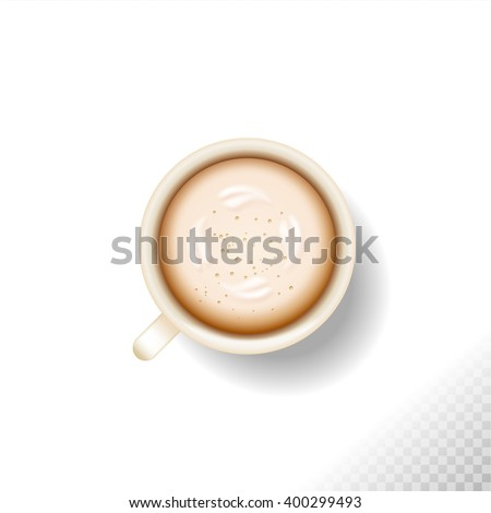 coffee break. Hot Coffee cup  isolated on white or transparent  background . latte it`s coffee time. All you need is coffee. white cup of coffee latte cappuccino with foam - stock vector
