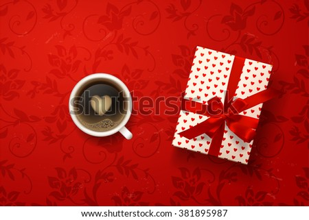 coffee break. Hot Coffee cup with gift box on red vector background. latte it`s coffee time. I love coffee. I love you. Color gift box with hearts, bows and ribbons. valentine`s card - stock vector