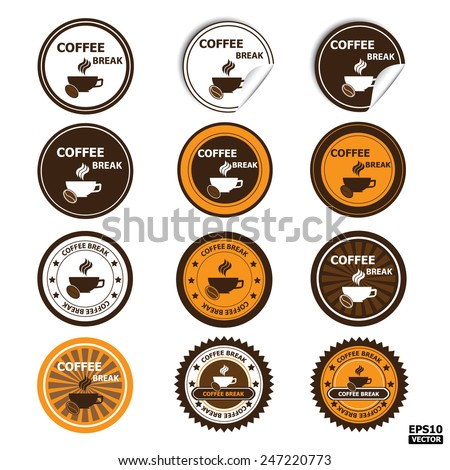 Coffee break sign, sticker, stamp, tag, label, icon, button.-eps10 vector - stock vector