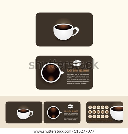 coffee business cards, discount and promotional cards/vector - stock vector