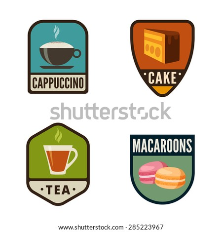 Coffee Candy Shop Vintage Labels vector icon design collection. Shield banner sign. Bakery Logo. Coffee, Cake, Cookies, Cupcake flat icons. - stock vector