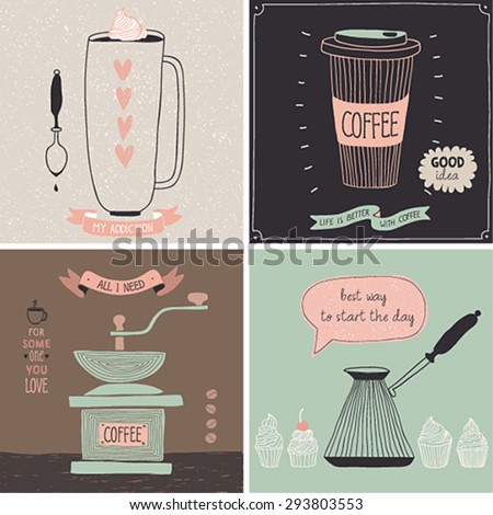 Coffee cards - Hand drawn style. Vector illustration. - stock vector