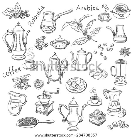 coffee collection hand drawn illustration, excellent vector illustration, EPS 10 - stock vector
