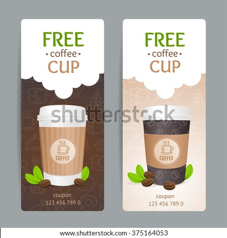 Coffee Coupon Set. Free Cup. Vector illustration - stock vector