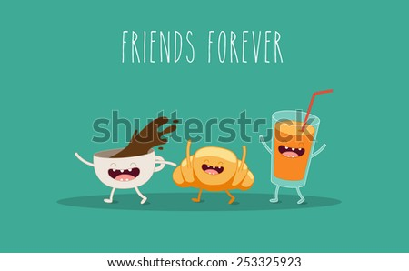 Coffee, croissant and juice. Breakfast. Vector cartoon. Friends forever. ?omic characters. - stock vector