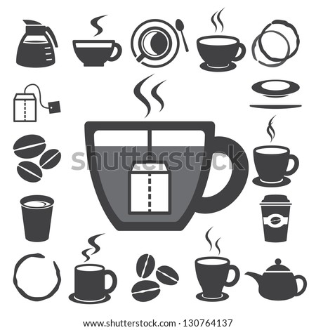 Coffee cup and Tea cup icon set.Illustration eps10 - stock vector