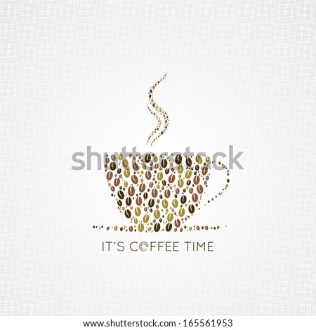 coffee cup beans design background - stock vector