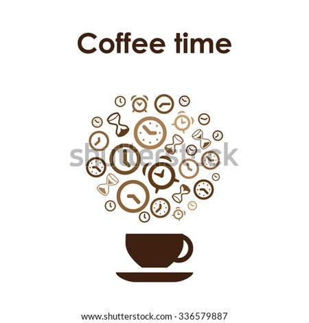 Coffee cup design vector icon for coffee shop or cafe or coffee lovers with clocks and alarms and Coffee Time lettering - stock vector