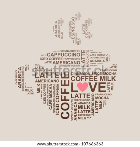coffee cup from letters - typographic composition - vector - stock vector