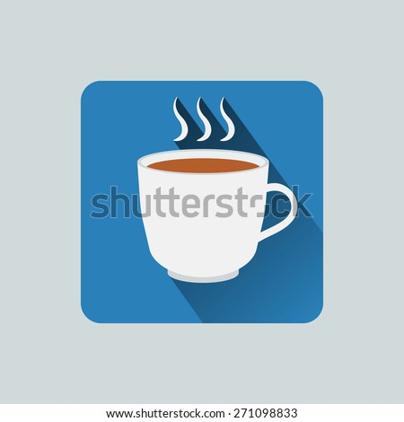 Coffee cup icon. Vector illustration flat design with long shadow. - stock vector