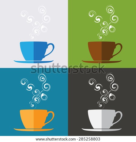 Coffee cup icon vector, set of Coffee cup icon on colorful background, illustration. - stock vector