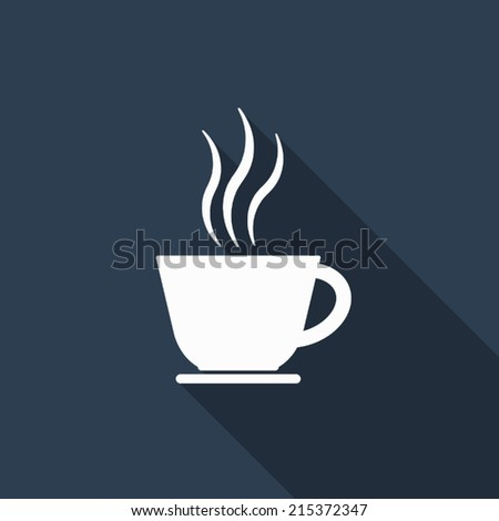 coffee cup icon with long shadow - stock vector