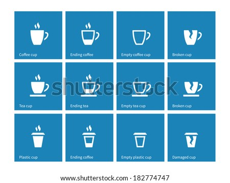 Coffee cup icons on blue. Vector illustration. - stock vector