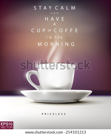 Coffee cup in the morning. Vector editable template illustration - stock vector