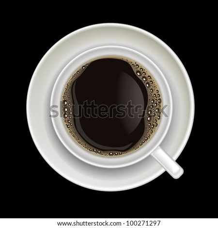 coffee cup isolated on a black background - stock vector