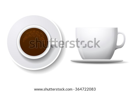Coffee cup isolated on white. Top view and side view white coffee cup. Coffee espresso beverage, breakfast and caffeine, cappuccino and saucer. Coffee cup vector illustration - stock vector