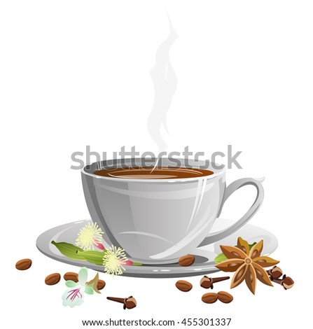 Coffee cup on saucer with coffee beans and spices (star anise, clove and cardamom). Vector illustration. - stock vector