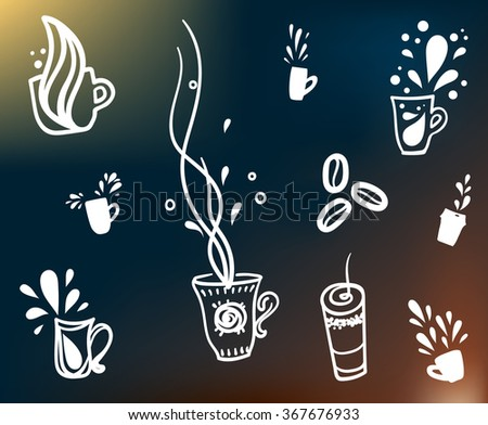 coffee cup sign cutouts  for cafe - stock vector