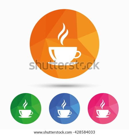 Coffee cup sign icon. Hot coffee button. Hot tea drink with steam. Design of flat coffee symbol. Coffee web icon. Coffee sign for logo. Coffee picture. Coffee sign for app. Coffee simple icon. Vector - stock vector