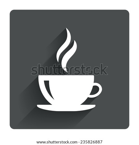 Coffee cup sign icon. Hot coffee button. Hot tea drink with steam. Gray flat square button with shadow. Modern UI website navigation. Vector - stock vector